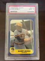 1986 Fleer Update Barry Bonds Rookie Card #U-14 PSA graded MINT 9 RC