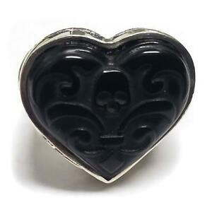 King Baby Studio Black Carved Jet Heart .925 Silver Ring Size 8