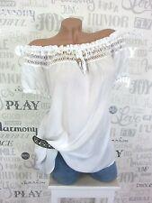 Verano blusa túnica camisa Carmen punta häkel off shoulder 38 40 42 blanco ef02