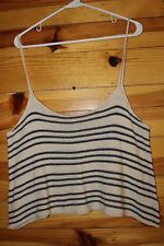 *AMERICAN EAGLE* Women's Juniors Ivory/Navy Striped Sweater Top Size L