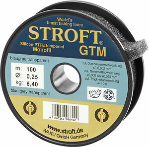 STROFT GTM 100 m Monofile Angelschnur 0.08 mm bis 0.50 mm Blaugrau transparent