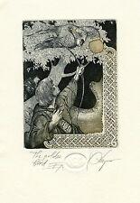 """""""The Golden Bird"""" Archery, Original Print Ex libris Etching by Hristo Kerin"""