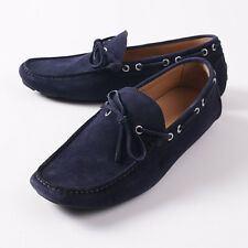 NIB $950 KITON Navy Blue Calf Suede Driving Moccasins Loafers US 9 Shoes