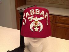 Vintage Shriner's Fez Hat Excellent Quality Sabbar Temple Jeweled Stunning Clean