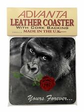 'Yours Forever' Gorilla with Red Rose Single Leather Photo Coaster Ani, AM-11RSC