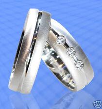 Trauringe J71-3 Eheringe mit 3 Steinen Silber 925