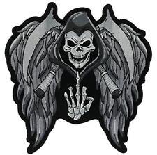 DEATH SKULL REAPER FU Motorcycle Jacket Biker Vest MC CLub LARGE Back Patch
