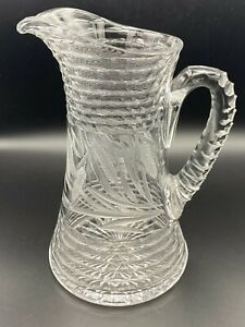 """Vintage ABP American Brilliant Wheat Pattern Cut Crystal Glass Pitcher, 10 1/2"""""""