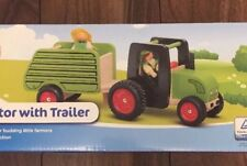 Toy Tractor With Trailer Wood Construction