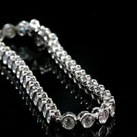 Certified 5.50 Ct Round Brilliant Cut Diamond Tennis Bracelet 14k White Gold
