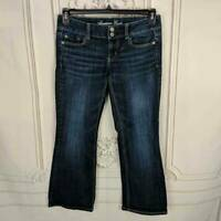 American Eagle Womens Size 4 Stretch Artist Flare Jeans Cropped Dark Wash Denim