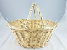 Wicker Storage Basket With Handles Shopping Knitting Storage Hamper