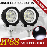 2X 3''inch LED Work Light Hi&Lo Beam Spot Pod Driving Offroad 12V 4WD Motor Car