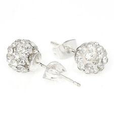 April Birthstone 8mm Rhinestones Crystal Fireball Disco Ball Pave Bead Stud Earr