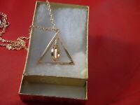 USA -Harry Potter The Deathly Hallows GOLD Rotating Charm Pendant Chain Necklace