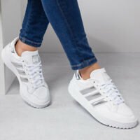 Scarpe Sportive Donna Adidas Team Court W Bianco Argento Nuova Sneakers in Pelle