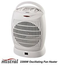2200W Oscillating Electric Fan Heater with 2 Heat Settings & Thermostat