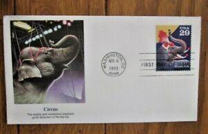 CIRCUS ELEPHANT 1993  FLEETWOOD CACHET FDC VF UNADDR