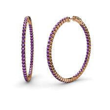 1.80mm Amethyst Inside-Out Hoop Earrings 3.00 cttw in 14K Rose Gold JP:37585