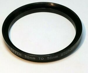 Tiffen 52mm to 55mm Step-up ring Metal adapter threaded made in USA