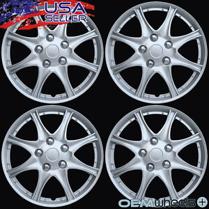 """4 New OEM Silver 16"""" Hubcaps Fits Acura FWD SH-AWD ABS Center Wheel Covers Set"""