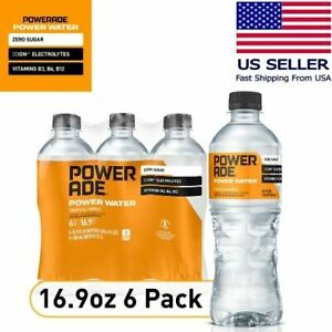 POWERADE Water, Tropical Mango, Sports Drink Bottled Water, 16.9 fl oz, 6 Pack