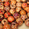 100pcs Mixed Natural Wood Beads Large Hole Stringing Ethnic Pattern DIY Jewelry