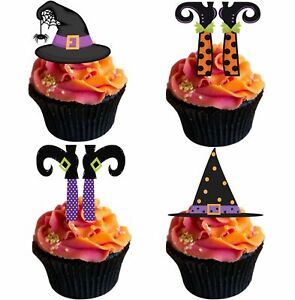 24 x WITCHES LEGS & HATS Halloween - STAND UPS Edible Wafer Cup Cake Toppers