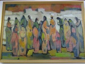 GIANT FIGURAL  ABSTRACT PAINTING MODERNISM EXPRESSIONISM VINTAGE  CONGREGATION