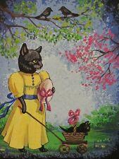 ACEO PRINT OF PAINTING RYTA BLACK CAT EASTER EGG KITTEN WHIMSICAL FOLK SPRING