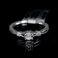 New Ladies White 10K Gold Gp Genuine Real Diamond Ring Engagement Wedding Bridal