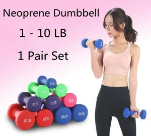 1 Pair 2 Pack 1 - 10 LBs Neoprene Dumbbell Hand Weights Set Gym Dumbbell Set