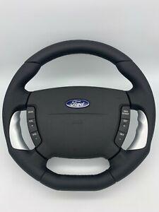 FORD / FPV BA-BF Falcon Genuine Steering Wheel Black Leather Flat Bottom Silver