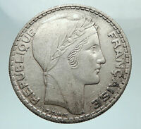 1937 FRANCE Authentic Large Silver 20 Francs Vintage French MOTTO Coin i80312
