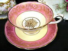 Hammersley tea cup and saucer PINK & GOLD pattern teacup wide mouth