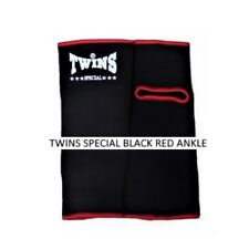 TWINS SPECIAL BLACK RED ANKLE MUAY THAI GUARDS SUPPORT MMA K1 FIGHTING KICK
