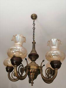 Chandelier Brass Burnished Glass Filigree Wood 95 CM (H) 5 Lights Vintage