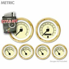 Gauge Face Set Retro Metric Hot Rod Tan, Black Classic Needles, Gold Trim Rings