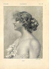 Portrait de Chloé de Schramm Peintre/Sauvetage Trois-Mats Le Tourny GRAVURE 1901