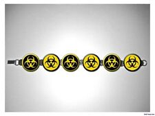 Biohazard Yellow Zombie Contagion 8 inch bracelet w/fold over clasp