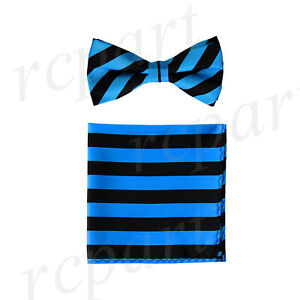 Men's Pre-tied Bow Tie & Hankie Black Turquoise blue striped Stripes Wedding