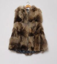 Fox Fur Long Hooded Gilet With Pockets Size Small