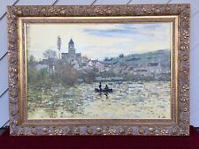 "Large Gold Framed MONET Painting ""The Seine at Vetheuil"" Reproduction 275/485"