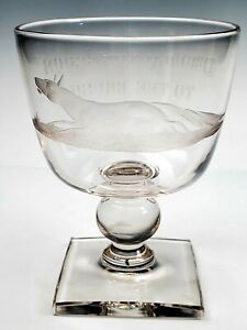 """19th Century Engraved Rummer Wine Glass Goblet Dog """"Through the Broom To Brush"""""""