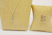 Silver Colored Earring and Necklace Set with Simulated Diamonds