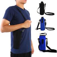 Insulated Neoprene Water Bottle Carrier Holder Bag Shoulder Strap Case 1000ML