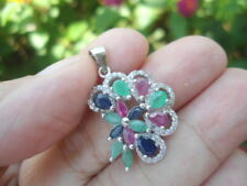 NATURAL Emerald, Sapphire, Ruby STERLING 925 SILVER Flower PENDANT