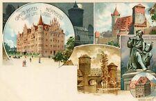 Carte ALLEMAGNE Grand Hôtel NURNBERG Rudolf LOTZ 6 Vues Illustriert