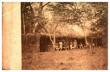 Antique military RPPC postcard soldiers in bush camp & natives Waterloo 1914