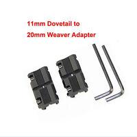 2 x 11mm Dovetail to 20mm Weaver Picatinny Rail Converter Adapter Base Mount UK